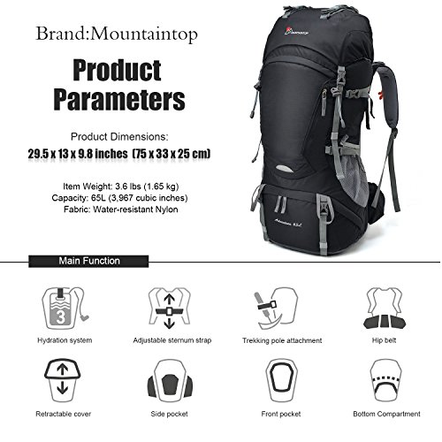 Mountaintop 65L Internal Frame Backpack Hiking Backpack with Rain ...